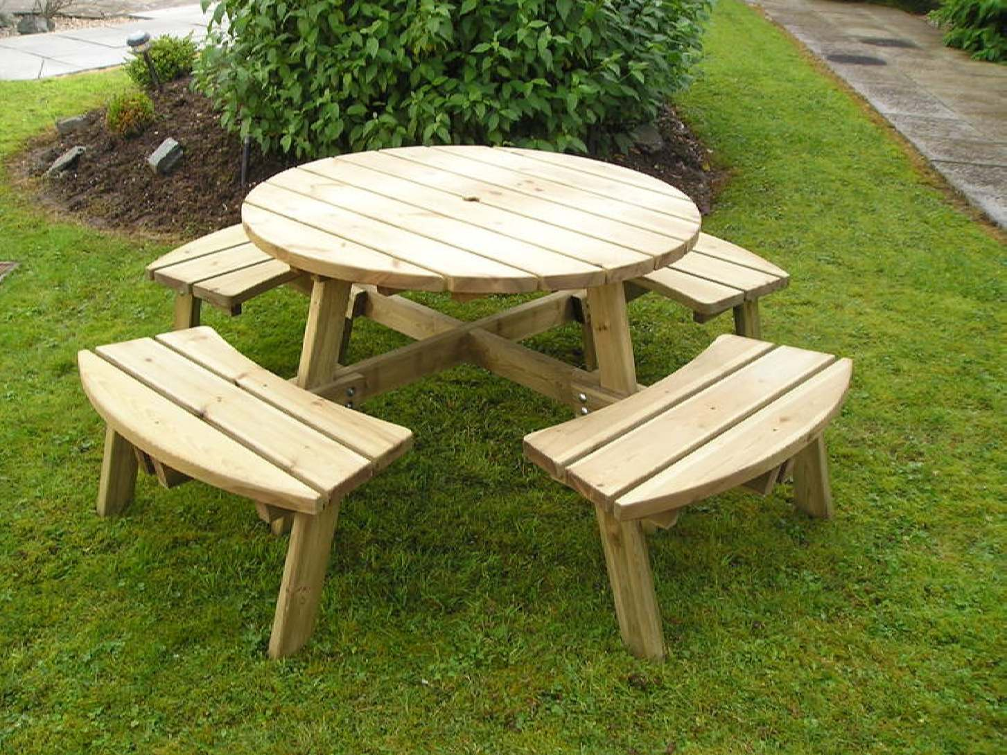 Table Folding Outdoor Circular Wooden Wood Garden Center
